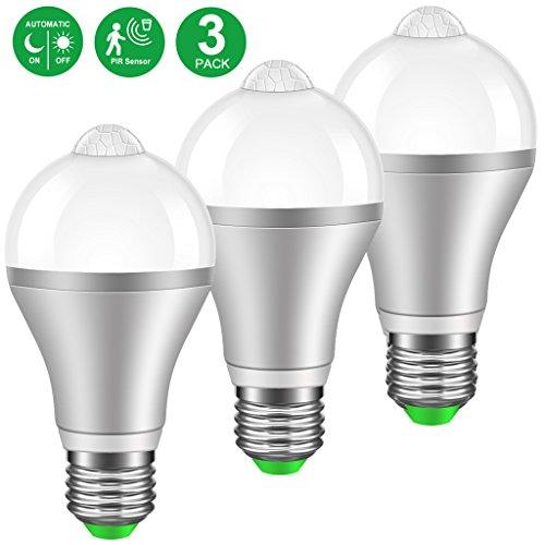 LED Lampen mit Bewegungsmelder Minger E27 9W 6000K Kaltweiß LED Birnen PIR Infrarot Dekorative Beleuchtung für Korridor, Garage, Treppe, Garten, Hof, 3 - Garage Licht Sensor