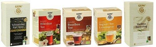 GEPA Tee Variationen - 5 unterschiedliche Bio Teesorten - 110 Aufgussbeutel