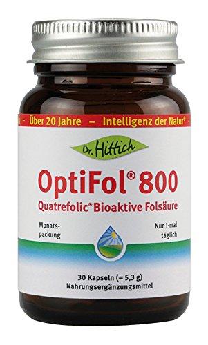 OptiFol® 800 - 30 Folsäure Kapseln - Ideal bei Schwangerschaft. Bioaktive Folsäure mit Vitamin B9 - Von Dr. Hittich