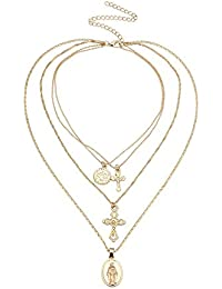 bb8cb8201205 HuaMás Elegante Collar Simple Estilo Dama Colgante de múltiples Capas en  Forma de V de Cruz