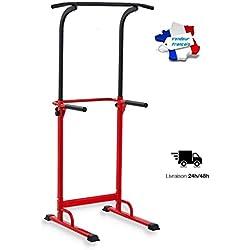 Pull Up Fitness - Barre de Traction Ajustable Musculation Multifonction, Rouge/Noir