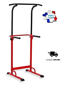 PullUp Fitness Barre de Traction Ajustable Station Musculation Dips Station Chaise Romaine (Rouge)