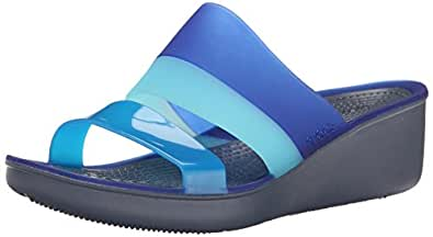 crocs Women's Storm/Cerulean Blue Fashion Sandals -W6  (200031-4GB)