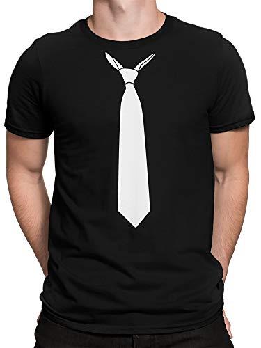 vanVerden Herren T-Shirt - Falsche Krawatte Schlips Fake Tie Kostüm JGA Abschluss Shirt, Größe:S, Farbe:Schwarz