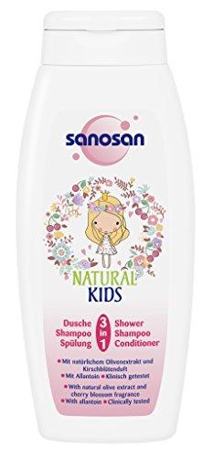 sanosan NATURAL KIDS 3in1 Dusche, Shampoo & Spülung für Mädchen, mildes Duschgel Kinder, 6er Pack (6 x 250 ml)