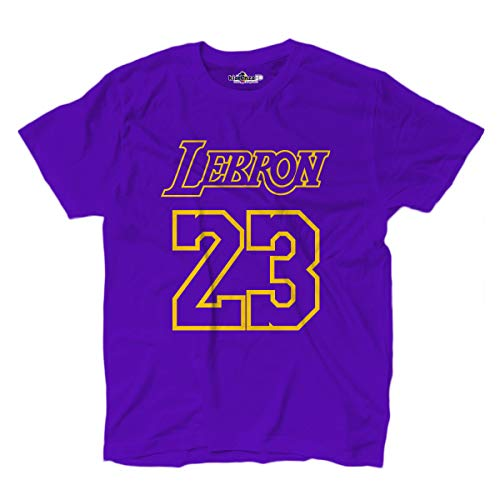 KiarenzaFD T-Shirt Basket Lebron King James 23 Los Angeles All Star Basketball Lila Uomo, Herren, violett, Medium