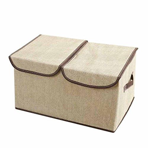 THEE Große Kapazität Aufbewahrungsbox Stoffkiste Ablagebox Schlafzimmer Accessoire-Organizer Aufbewahrungskasten mit Deckel Weiß