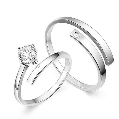 Mahi Rhodium Plated Solitare Couple Ring Set with Cubic Zirconia and Crystal Stones FRCO1103036R