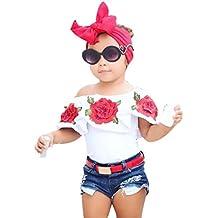 Ropa para bebés,Chicas fuera del hombro 3D Rose flor camiseta Tops trajes ropa