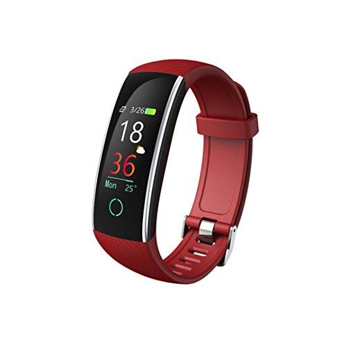 Prevently Bltooth Smartwatch, 2018 Uhr Intelligente Armbanduhr Fitness Tracker Armband Sport Uhr Color Screen Blutdruck Übung Herzfrequenz Schrittzähler (Rot)