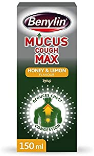 Benylin Mucus Cough Max, Honey and Lemon Flavour, Reduce Cough Intensity from Day 1, Cough Medicine for Adults