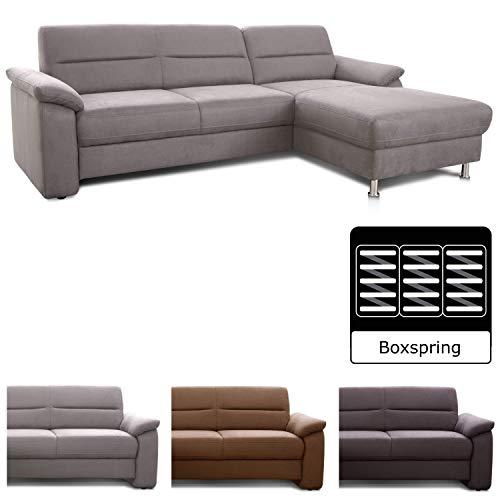 Cavadore Ascaro L-Couch mit Longchair rechts / Boxspring-Sofa mit Bezug aus pflegeleichter Mikrofaser / Modernes Design / Maße: 254 x 84 x 171 cm (BxHxT) / Farbe: Hellgrau (steelgrau)