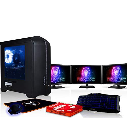 Fierce HAWK High-End Gaming PC Bundeln - Schnell 3.8GHz Octa-Core AMD Ryzen 7 1700X, 2TB Festplatte, 16GB 2666MHz, NVIDIA GeForce RTX 2070 8GB, Tastatur (VK/QWERTY), Maus, 3x 21.5-Zoll-Monitore 903009