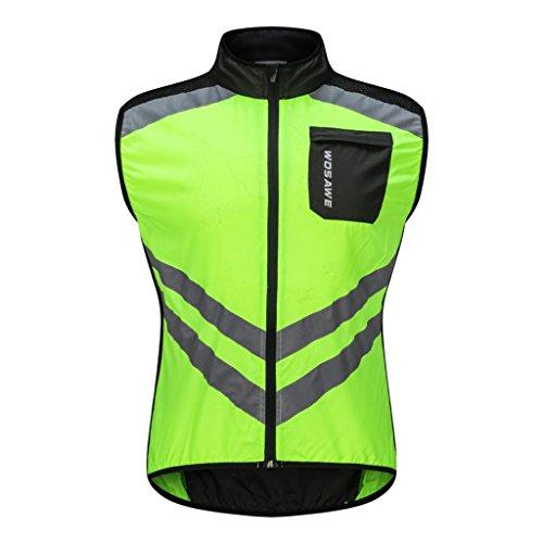 Homyl Gilet Antivento Senza Maniche Sportivo Ciclismo Running Sport Confortevole Sportivo Abbigliamento - Verde, XL