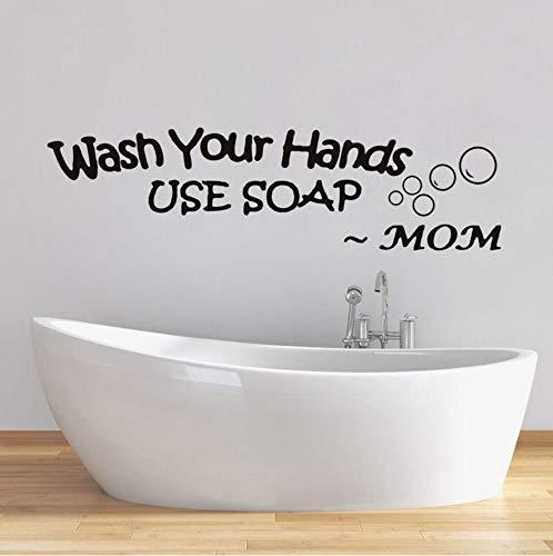 rylryl Waschen Sie Ihre Hände Vinyl Badezimmer Notizen Von Mama Wandaufkleber Verwenden Sie Seife Wasserdichte Abziehbilder Wanddekor Für Küchentapeten Home Decor60x16cm -