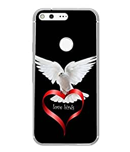 PrintVisa Designer Back Case Cover for Google Pixel XL (Love Birds Design In Black Background)