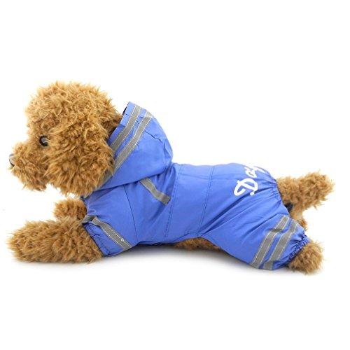 ranphy Kleiner Hund/Katze Regenmantel Wasserdicht Jumpsuit Regenmantel mit Kapuze Mesh Regen Poncho mit Haken blau S (Katze Auf Dem Rücken Hund Kostüme)