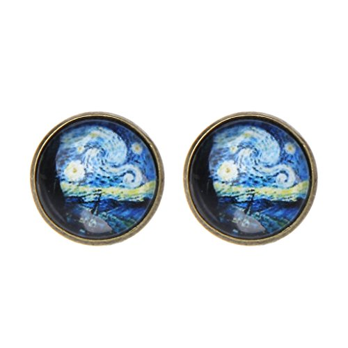Kofun Ohrringe, Van Gogh Painting Stud Earrings The Starry Night Glass Dome Post Jewelry Bronze