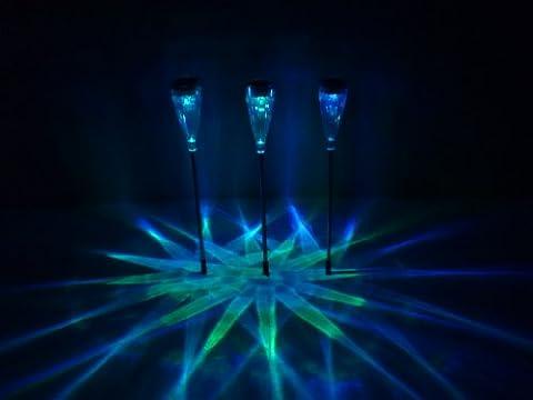 Tulpe 3er Set Solargartenleuchte Solarwegeleuchte aus Edelstahl und hochwertigem Kunststoff, je 2 LEDs 1 x mit Farbwechsler 1 x weißes