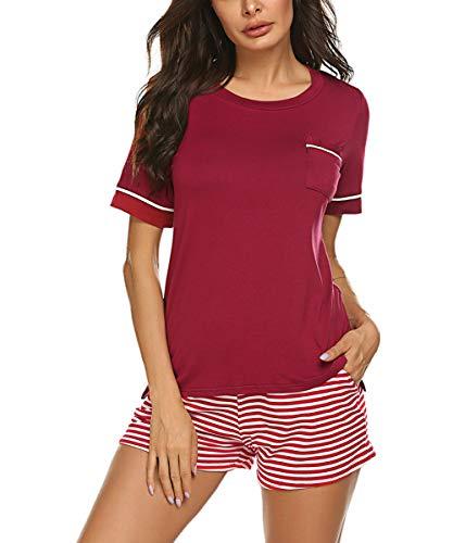 mer Schlafanzug Baumwolle Kurzarm Jersey Nachtwäsche Zweiteilig Weinrot XL ()