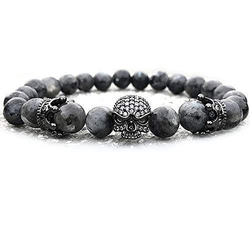 EXINOX Armband Perlen aus Stein und Totenkopf | Herren | Details Totenkopf und Krone | Marmor König (Herren König Krone)