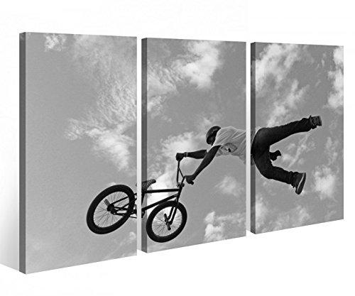 Leinwandbild 3 Tlg. Fahrrad BMX Mountainbike Sport bike Leinwand Bild Bilder Holz fertig gerahmt 9P819, 3 tlg BxH:90x60cm (3Stk 30x 60cm)