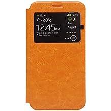 Prevoa ® 丨 Homtom HT6 Funda - Flip PU S- View Protictive Funda Case para DOOGEE HOMTOM HT6 Android 5.1 4G 5,5 Pantalla Smartphone - Naranja