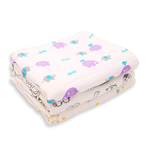 DMMASH Couvertures de bébé Coton Nouveau-né Poussette Couverture Cartoon Motif Wrap Baby Play Tapis Mousseline Swaddle Couverture,Elephant,100 * 120cm