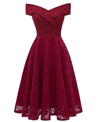 n Der Schulter Spitze Abendkleid Vintage Kurzarm Damen Sommer Sexy Cocktail Prom Formale Party Eine Linie Knielangen Dress (XXL, Red Wine) ()