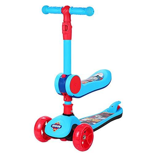 YUANLAISHINI 3 in 1 Kick Scooter mit abnehmbarem Sitz, faltbares Design Design Perfekt für Kinder und Kleinkinder oder Jungen - Höhenverstellbar mit PU Flash Car für Kinder von 3 bis 6 Jahren (Außerhalb Für Kinder Halloween-spiele)