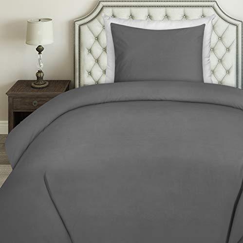 Utopia Bedding Bettwäsche-Set - Mikrofaser Bettbezug und Kissenbezug - (135 x 200 cm, Grau) (Bettbezug Bettwäsche Grau)