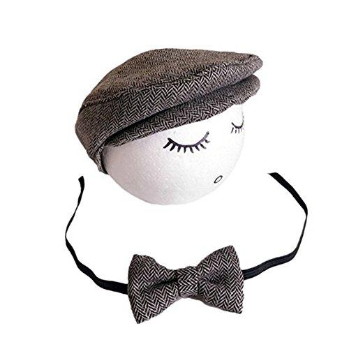 neugeborenen babyfotografie props kostüm Jungen Mädchen baby fotografieren fotoshooting set requisiten accessoire Hut mit Puppe (Grey/Grau)