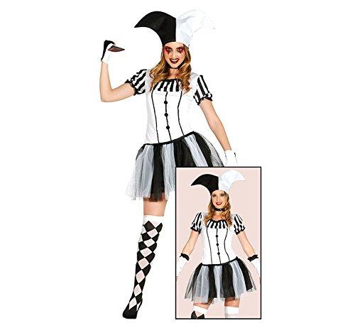 Harlequin Lady Halloween Kostüm für Damen Clown Joker Halloweenkostüm Killer Damenkostüm Clownkostüm Gr. S-L, Größe:M