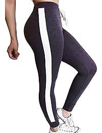 Yying Damen Hohe Taille Hosen Mode Gestreift Slim Fit Jogginghose mit Kordelzug Elastischer Taille Casual Jogging Yoga Hose Sporthose Jeggings