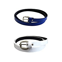 Verceys Blue And White Casual Belts For Women Combo Of 2