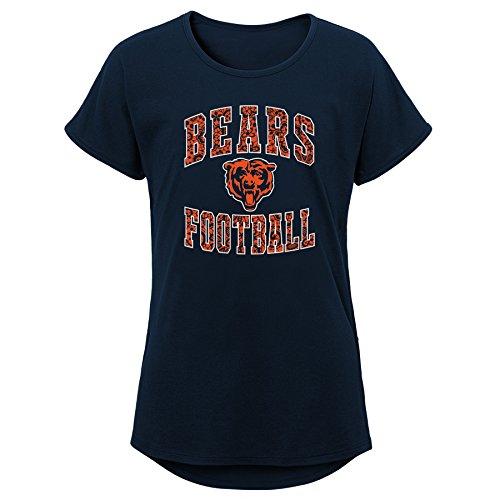 Outerstuff NFL Chicago Bears Jugend Mädchen Team Spitze Kurz Ärmel Dolman Tee, Mädchen, 9K1G6FASJFDQ BRS B41-GXL16, Navy, Youth Girls X-Large(16)