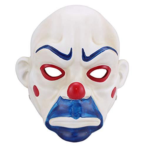 Halloween Weihnachten Maske Film und Bat Batman Dark Knight Maske Halloween COS Clown Robbery Harz Maske Masken (Color : Weiß, Size : 18 * 25CM/7 * 10inch)