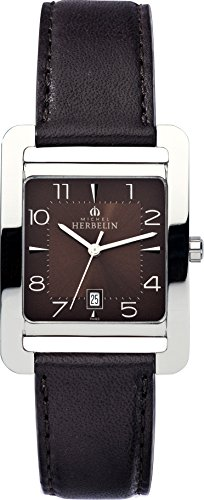 Michel Herbelin 5th Avenue Women's Quartz Watch with Brown Dial Analogue Display and Brown Leather Strap 14237/48MA