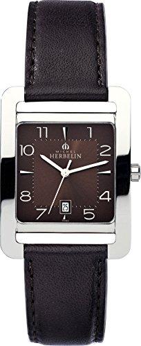 Michel Herbelin 5th Avenue Frauen Quarz-Uhr mit Braun Zifferblatt Analog-Anzeige und braunem Lederband 14237/48MA