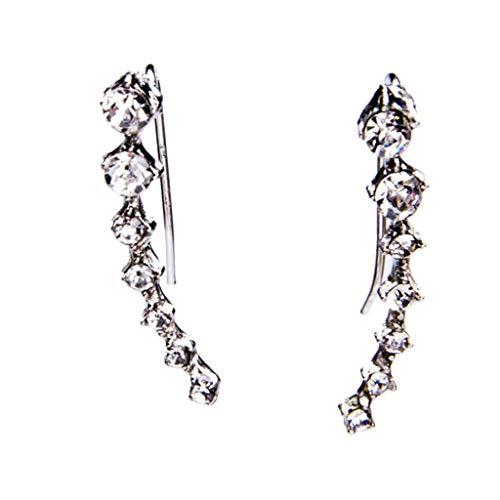 Meclelin 1 Bling Ohrklemmen 7 Kristalle Ohrringe Schmuck (Silber)