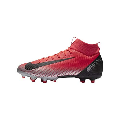 Nike Jr Sfly 6 Academy GS Cr7 FG/MG, Chaussures de Football Mixte Enfant, Multicolore (Bright Crimson/Black-Chrome-Dark Grey 600), 36 EU