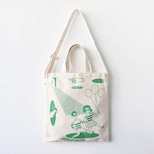 (MwaaZ Einfaches und Stilvolles Design Grüne Menschen mit Ballons Schultertasche Light File Shopping Travel Handtasche)