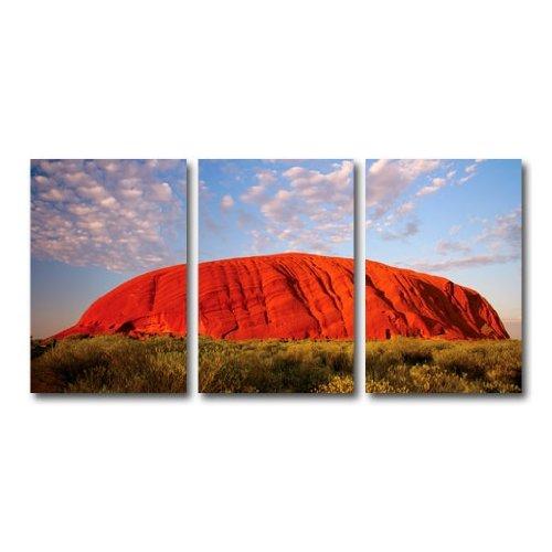 LeinwandBild Mythic Ayers Rock Triptychon I (Indigo-blumen-rock)