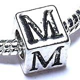 M - Initial Letter - Silver Plated Charm Bead - fits Pandora, Chamilia etc style Bracelets - SpangleBead