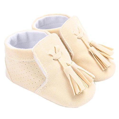 kingko® Baby Schuh Jungen Mädchen neugeborene Krippe weiche alleinige Schuh Turnschuhe Beige