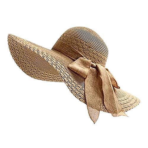 Produp Fashion Women Bunte Brim Straw Bogen Hut Sun Floppy breit Brim Hüte Beach Cap würdevoll und großzügig Nizza und komfortable Hut