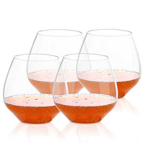 QHYK Plastikweingläser, 4Pcs, unzerbrechliche bruchfeste stemless Wein-Plastikgläser,...