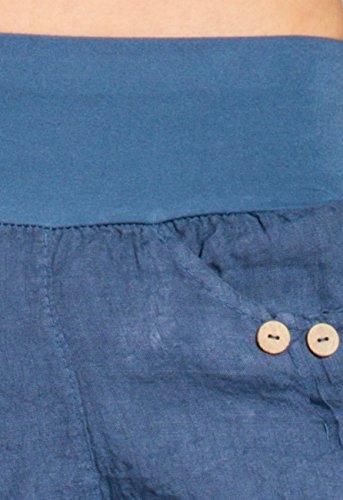 CASPAR BST002 Damen Leinen Shorts Jeans Blau