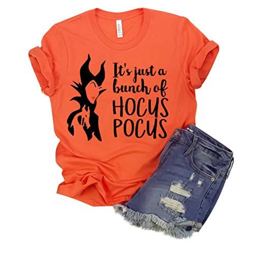 Damen It's Just a Bunch of Hocus Pocus Hexe Grafischer Brief Drucken Kurzarm Halloween Kostüm T-Shirt (Hausgemachte M&m Kostüm)