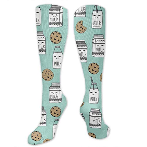 Gped Kniestrümpfe,Socken Milk and Cookies Compression Socks,Knee High Socks,Funny Socks for Women Men - Best Medical,Sports,Running, Nurses,Maternity,Pregnancy,Travel & Flight - Schwarzen Und Weißen Cookie Kostüm